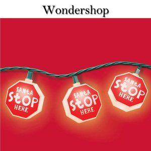 Santa Stop Here Christmas Lights NWT